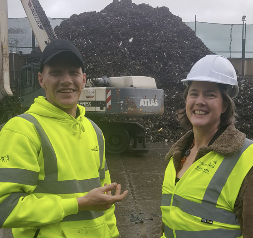 Caitlin on site at Recycling Lives -